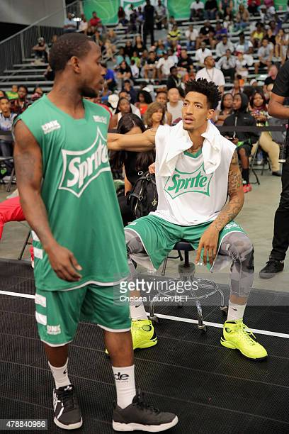 Slam dunk competitors attend the Slam Dunk presented by Sprite during the 2015 BET Experience at the Los Angeles Convention Center on June 27 2015 in...