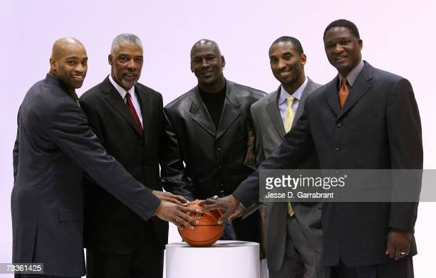 Slam dunk contest Judges Vince Carter of the New Jersey Nets Julius Dr J Erving Miachael Jordan Kobe Bryant of the Los Angeles Lakers and Dominique...