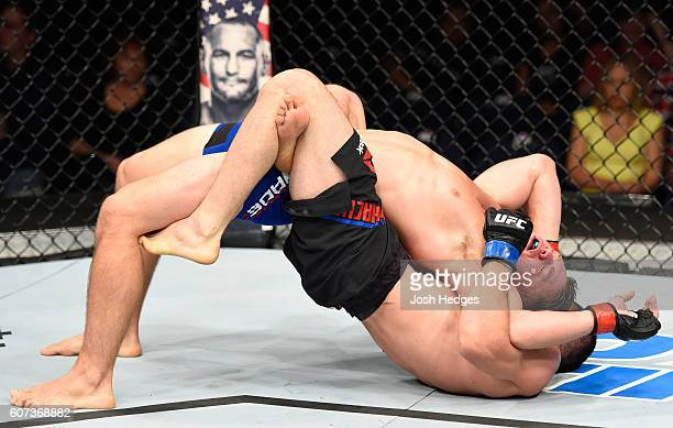 slam Makhachev of Russia controls the body of Chris Wade in their lightweight bout during the UFC Fight Night event at State Farm Arena on September...