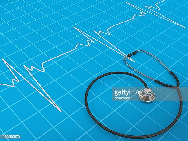 Slanted aerial shot of a stethoscope and electrocardiogram