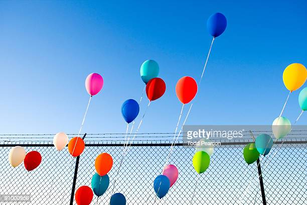 Slanted Balloons in front of  Fence