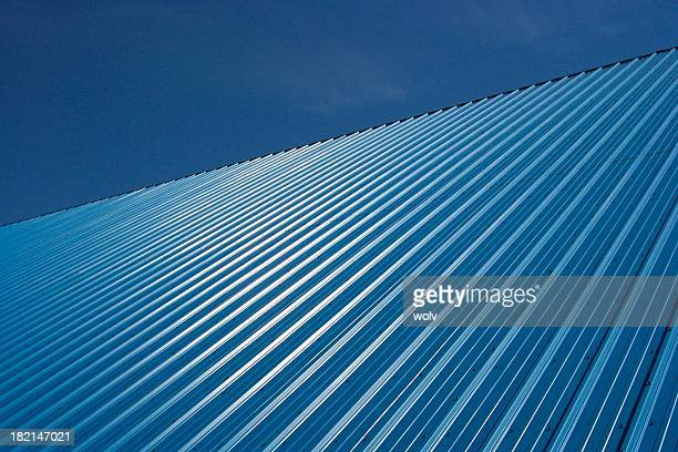 slanted blue - corrugated iron stock photos and pictures