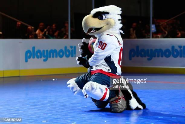 Slapshot of the Washington Capitals participates in the 2019 NHL AllStar Mascot Showdown on January 24 2019 in San Jose California