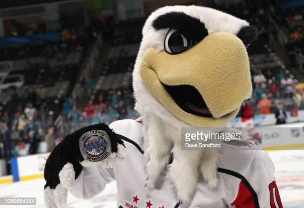 Slapshot of the Washington Capitals participates in the 2019 NHL AllStar Mascot Showdown at the SAP Center on January 24 2019 in San Jose California
