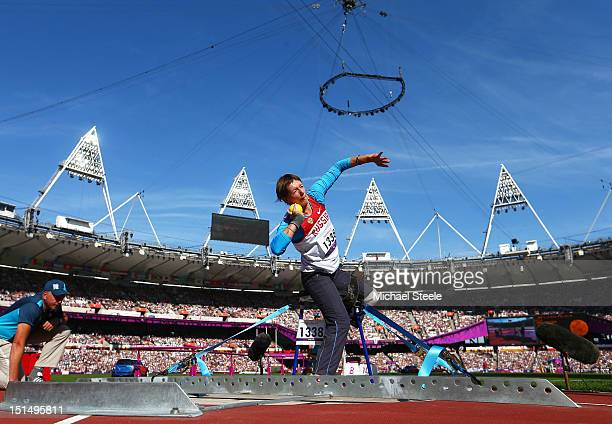 SLarisa Volik of Russia competes in the Women's Shot Put F57/58 final on day 10 of the London 2012 Paralympic Games at Olympic Stadium on September 8...