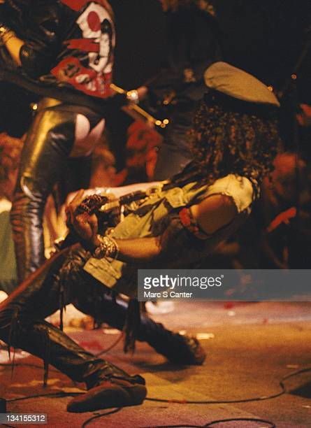 Slas and Axl Rose of the rock band 'Guns n' Roses' perform their first sold out show at The Troubadour on November 22 1985 in Los Angeles California