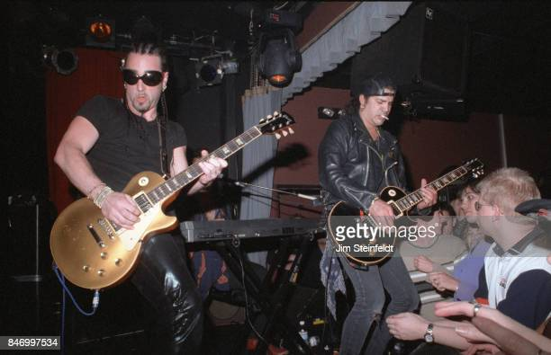 Slash and Danny Saber play guitar at the Viper Room for the Jim Dunlop party in Los Angeles California in 1999