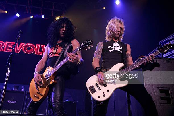 Slash and Duff McKagan of Velvet Revolver during K-ROCK's Claus Fest IV - December 3, 2004 at Continental Airlines Arena in East Rutherford, New...