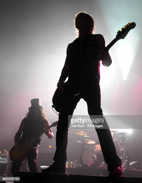 Slash and Duff McKagan of Velvet Revolver performing in concert at Brixton Academy in London
