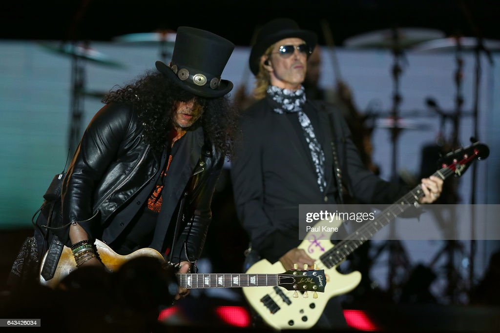 Slash and Duff McKagan perfom on stage during the Guns N' Roses 'Not In This Lifetime' Tour at Domain Stadium on February 21, 2017 in Perth, Australia.