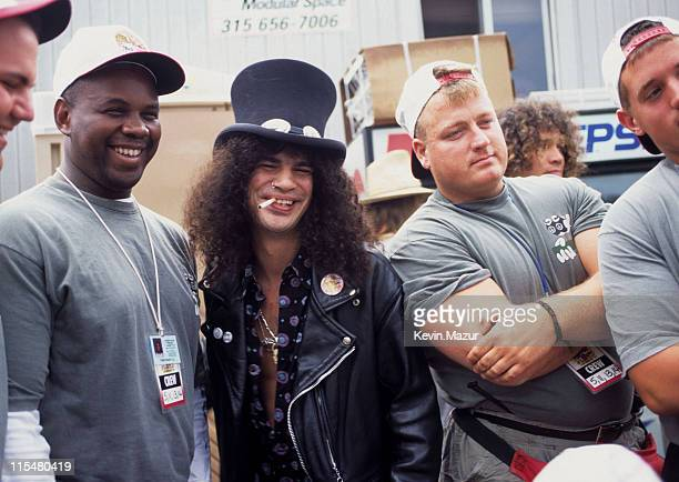 Slash and guests attend Woodstock '94 on August 13, 1994 in Saugerties, New York.