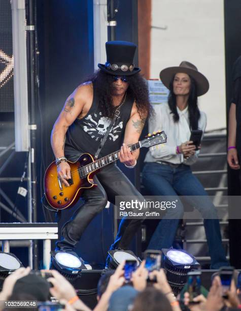 Slash and Meegan Hodges are seen at 'Jimmy Kimmel Live' on September 12 2018 in Los Angeles California