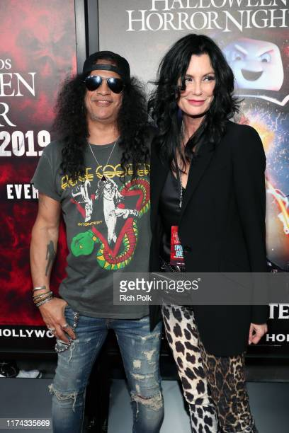 Slash and Meegan Hodges attend Halloween Horror Nights at Universal Studios Hollywood on September 12 2019 in Universal City California