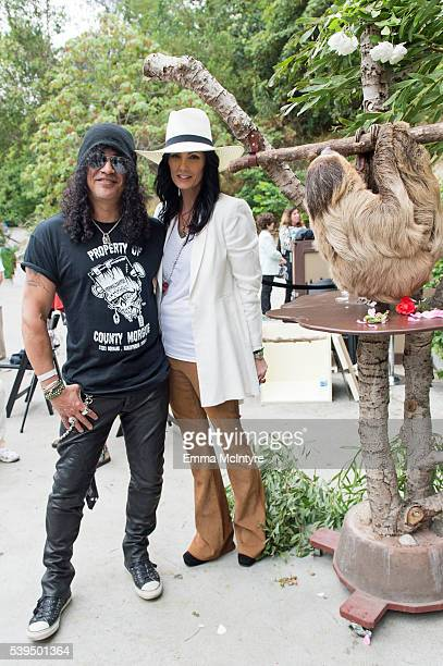 Slash and Meegan Hodges attend the Greater Los Angeles Zoo Association's 46th Annual 'Beastly Ball' at Los Angeles Zoo on June 11 2016 in Los Angeles...