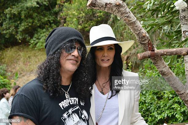 Slash and Meegan Hodges attend The Greater Los Angeles Zoo Association's 46th Annual Beastly Ball at Los Angeles Zoo on June 11 2016 in Los Angeles...