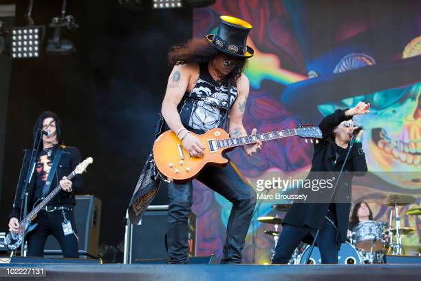Slash and Myles Kennedy perform on stage at Hellfest Festival on June 19 2010 in Clisson France