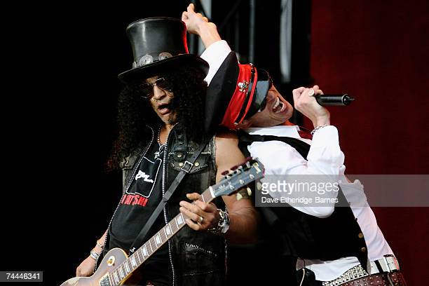 Slash and Scott Weiland of Velvet Revolver perform on the main stage during day one of the Download Festival at Donington Park on June 8 2007 in...