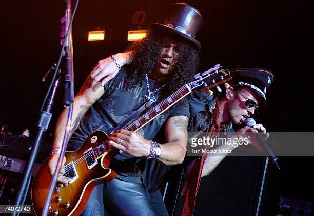 Slash and Scott Weiland of Velvet Revolver perform their US tour opener in advance of the bands 'Libertad' release at the Avalon on May 3 2007 in Los...