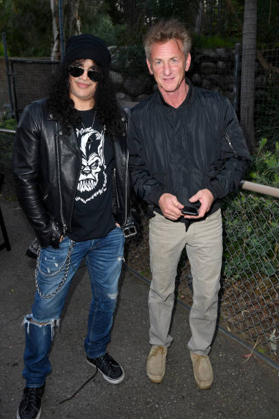 Slash and Sean Penn attend Meet Me In Australia To Benefit Australia Wildfire Relief Efforts hosted by The Greater Los Angeles Zoo Association at Los...