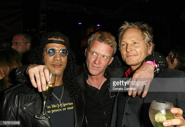 Slash Anthony Michael Hall and Matt Sorum during Hollywood's Elite Join TMobile at an Exclusive Launch Event in Beverly Hills for the Debut of Two...