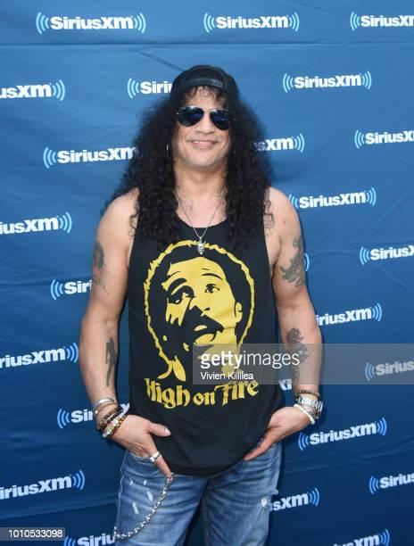 Slash attends SiriusXM Volume Presents Eddie Trunk Live at The Rainbow on August 3 2018 in Los Angeles California