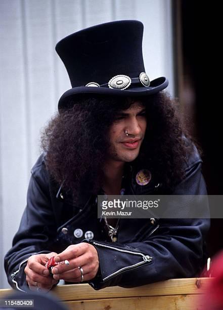 Slash attends Woodstock '94 on August 13, 1994 in Saugerties, New York.