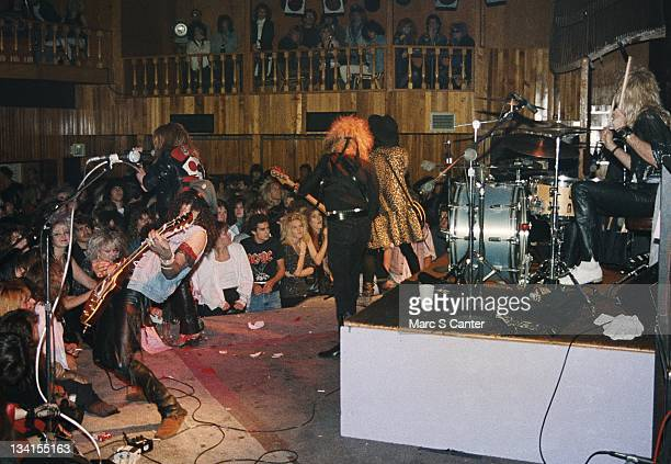 Slash Axl Rose Duff McKagan Izzy Stradli and Steven Adler of the rock band 'Guns n' Roses' perform their first sold out show at The Troubadour on...