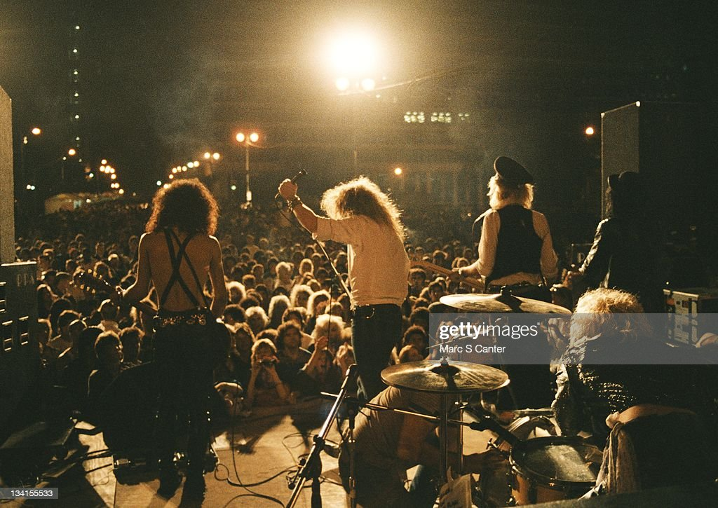 Slash, Axl Rose, Duff McKagan, Steven Adler and Izzy Stradlin of the rock group 'Guns n' Roses' perform at the LA Street Scene on September 28, 1985 in Los Angeles, California. Slash uses a Gibson Les Paul electric guitar for the first time onstage with the band.