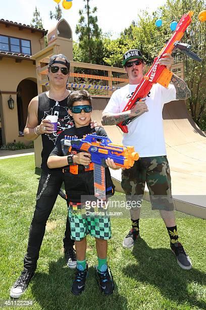 Slash his son Cash Hudson and Stephen Ficus Golden celebrate Cash's birthday on June 21 2014 in Beverly Hills California