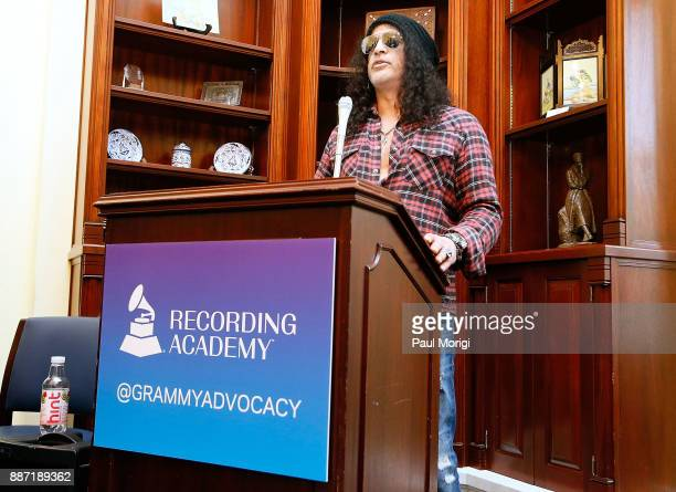 Slash of Guns N' Roses speaks at the SLASH Holiday Reception hosted by The Recording Arts and Sciences Congressional Caucus in the Canon House Office...