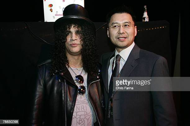 Slash of Guns N'Roses Velvet Revolver and Spectroniq CEO Leo Chen at the Spectroniq 3D CES Party at The Joint at the Hard Rock Hotel Casino on...