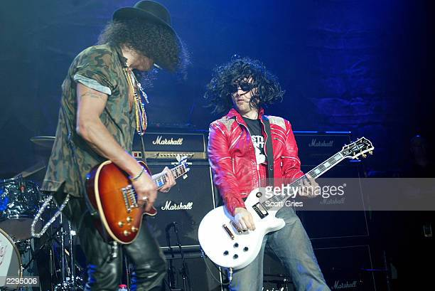 Slash of Guns Roses and Moby performs with Camp Freddy during the 2003 Blender Rock the Vote Awards afterparty at the Roseland Ballroom February 22...
