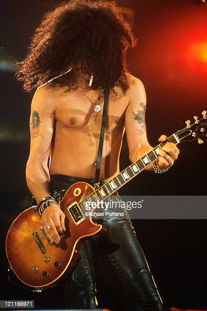 Slash of Guns'n'Roses performs on stage at the Freddie Mercury Tribute Concert Wembley Stadium London 20th April 1992