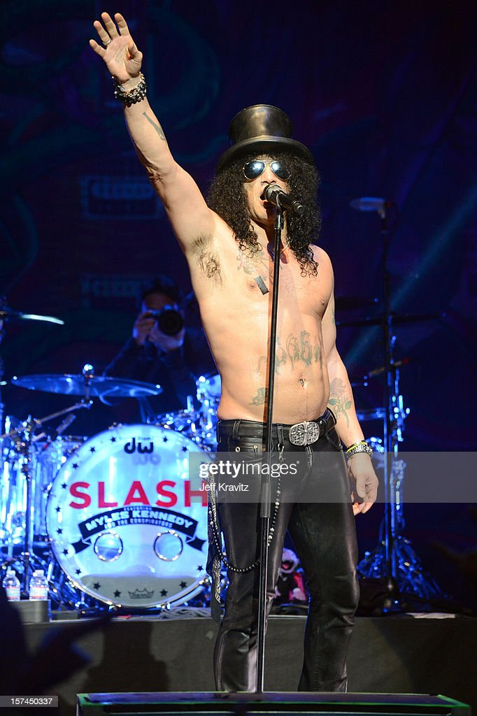 Slash of Slash featuring Myles Kennedy and the Conspirators performs at the Wiltern Theater on December 2, 2012 in Los Angeles, California.
