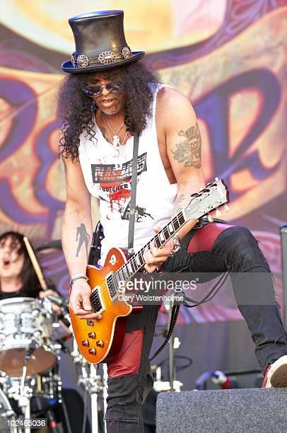 Slash of Slash performs on stage on the fourth day of Glastonbury Festival at Worthy Farm on June 27, 2010 in Glastonbury, England.