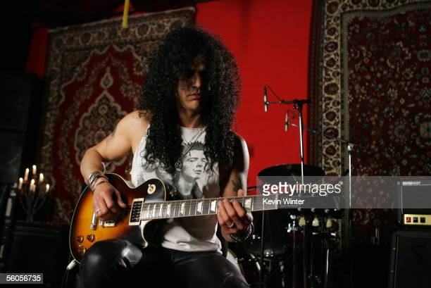 Slash of Velvet Revolver records and films the video for the new disaster relief charity single a cover of the Sir Eric Clapton ballad 'Tears In...