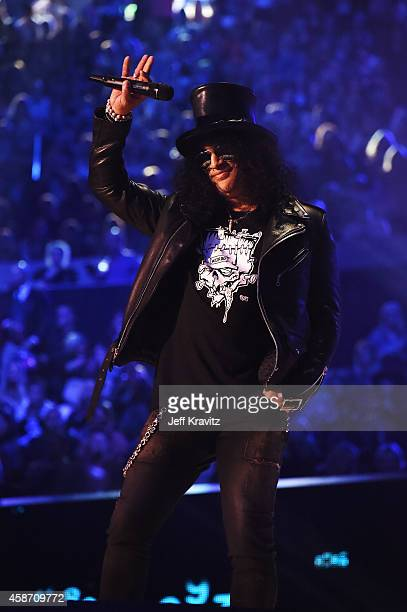 Slash on stage at the MTV EMA's 2014 at The Hydro on November 9 2014 in Glasgow Scotland