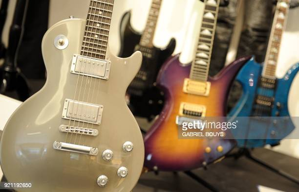 Slash owned custom Gibson Les Paul studio guitar is on display during the preview of the sale of exclusive property from legendary guitarist and...