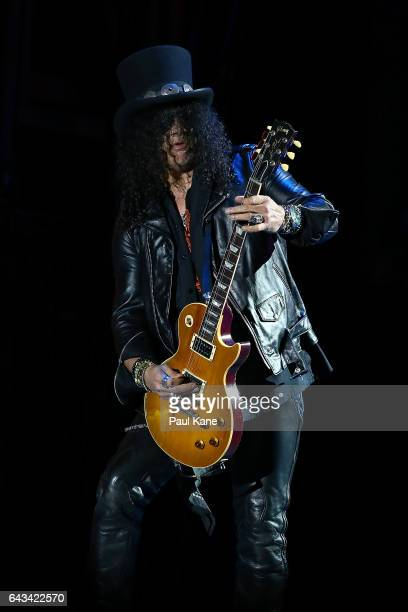 Slash perfoms on stage during the Guns N' Roses 'Not In This Lifetime' Tour at Domain Stadium on February 21 2017 in Perth Australia