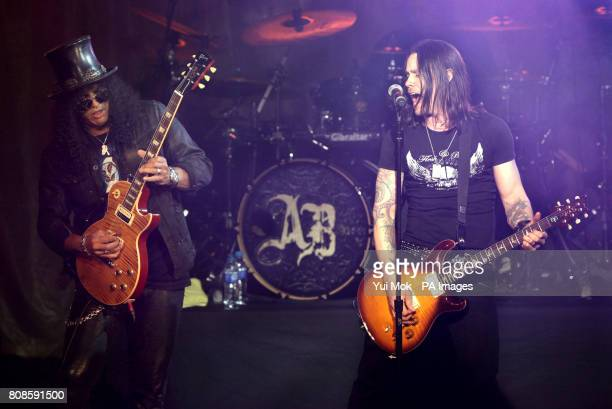 Slash performing on stage with Alter Bridge at the Marshall Classic Rock Roll of Honour at The Roundhouse in north London