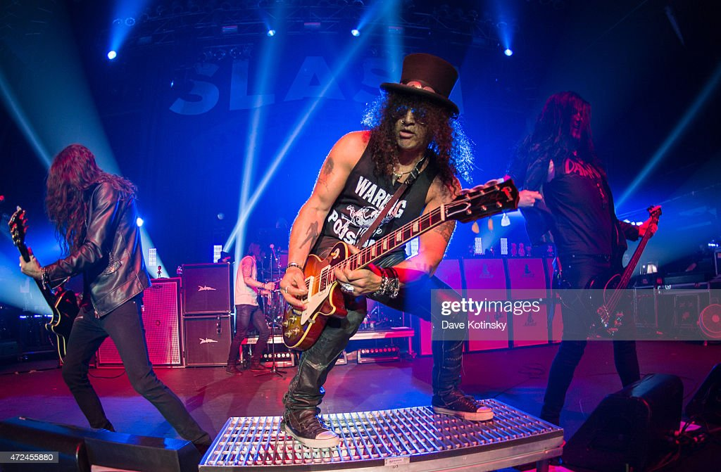 Slash performs for the 'Slash featuring Myles Kennedy and The Conspirators concert' at Terminal 5 on May 7, 2015 in New York City.