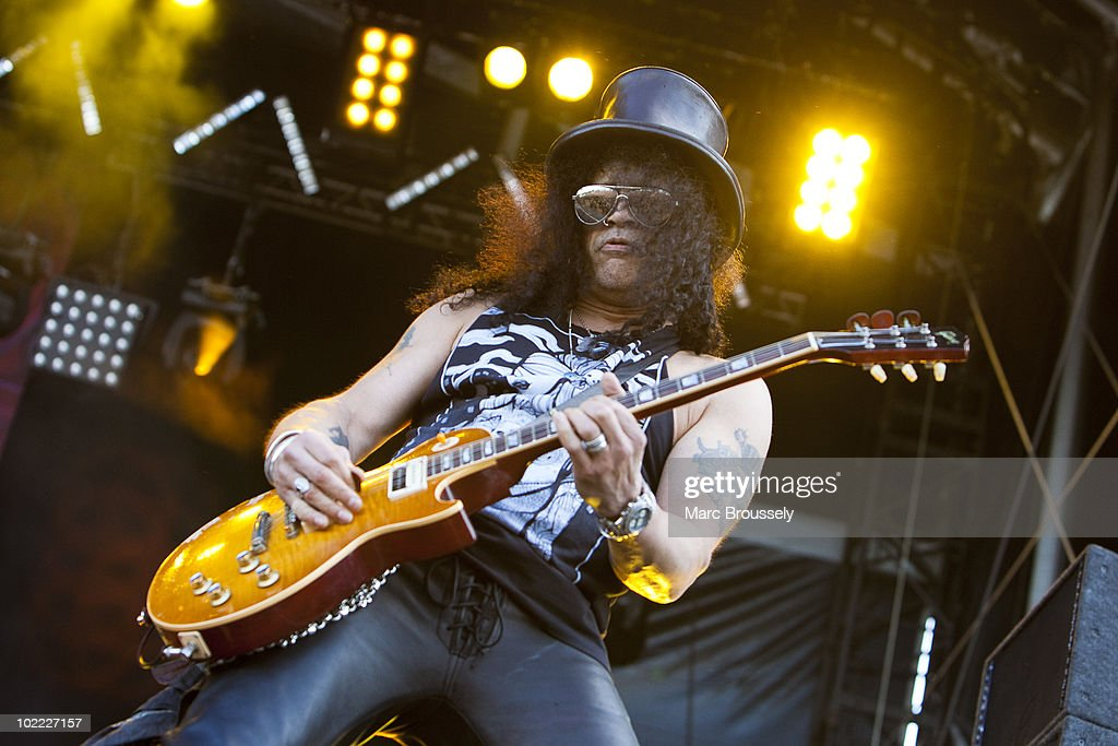 Slash performs on stage at Hellfest Festival on June 19, 2010 in Clisson, France.