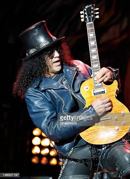 Slash performs on stage during Download Festival at Donington Park on June 8 2012 in Castle Donington United Kingdom