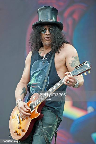Slash performs on stage on the last day of the Download Festival at Donington Park on June 13 2010 in Castle Donington England