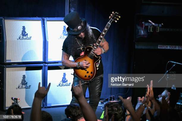 Slash performs onstage at SiriusXM Presents Slash Ft Myles Kennedy and The Conspirators at Whisky a Go Go on September 11 2018 in West Hollywood...