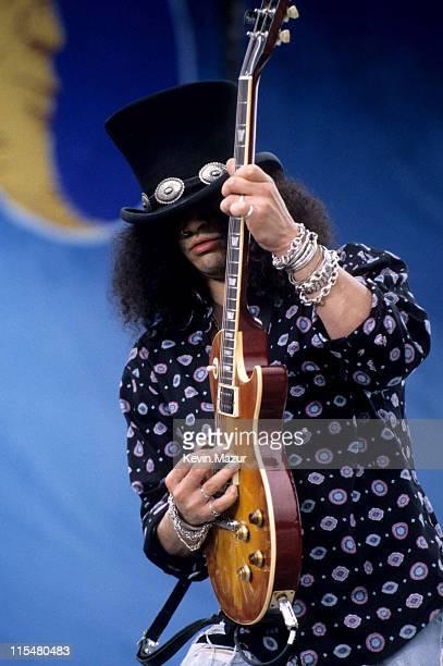 Slash performs onstage at Woodstock '94 on August 13, 1994 in Saugerties, New York.