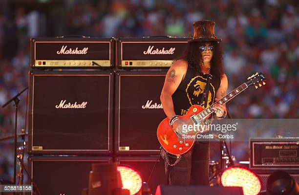 Slash plays before the Rabbitohs and Bulldogs game in the NRL Grand Final at ANZ Stadium 2014 Sydney Australia Sunday 5th October 2014
