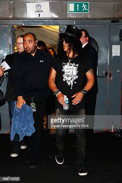 Slash poses in the digital room during the MTV EMA's 2014 at The Hydro on November 9 2014 in Glasgow Scotland