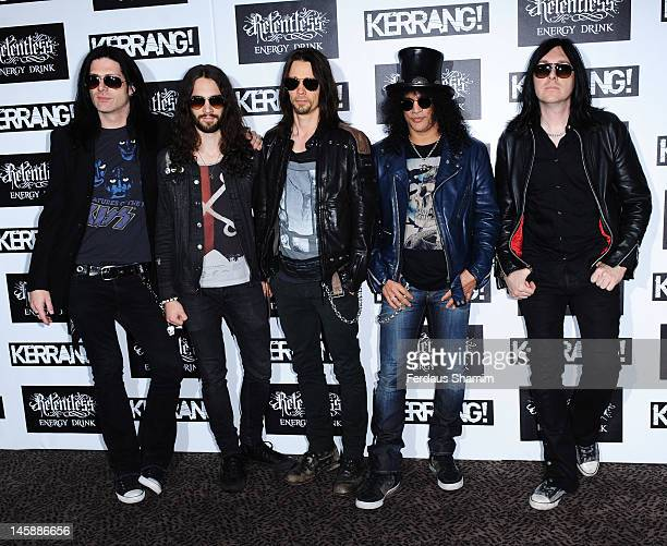 Slash poses with Alter Bridge at the Kerrang Awards at The Brewery on June 7 2012 in London England