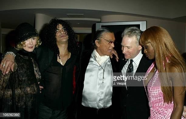 Slash Robert Evans Bill Maher and Coco Johnsen during 2004 Clive Davis PreGrammy Party Backstage and Audience at Beverly Hills Hotel in Beverly Hills...